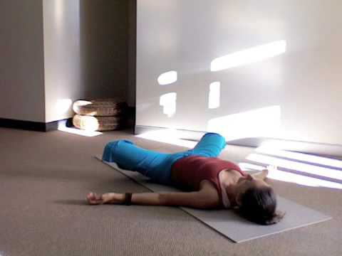 yoga stretch  supine butterfly hip stretch supta baddha