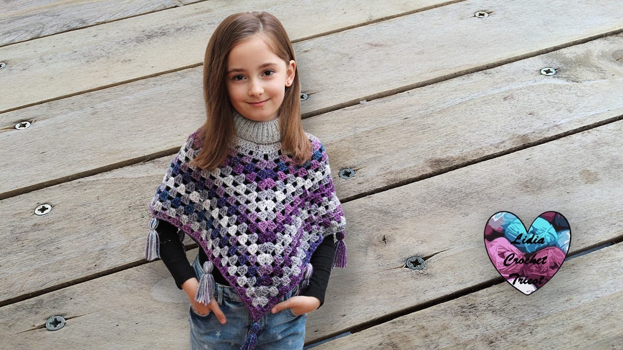Poncho Granny Crochet Toutes Tailles Idéale Débutant