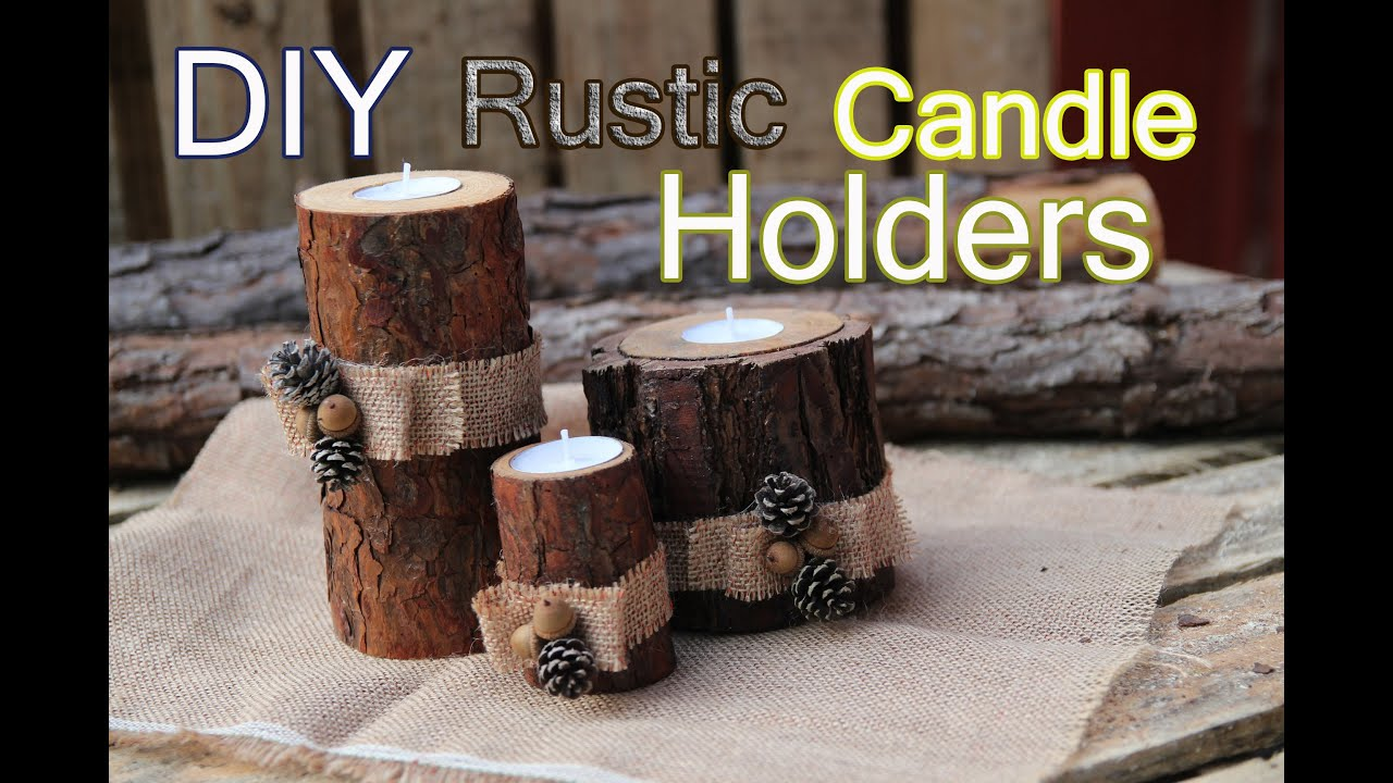 Diy rustic wood candle holders youtube for Log candles diy
