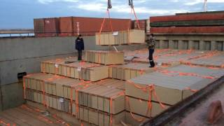 Unloading of vessel with OSB-3 in Azov sea port