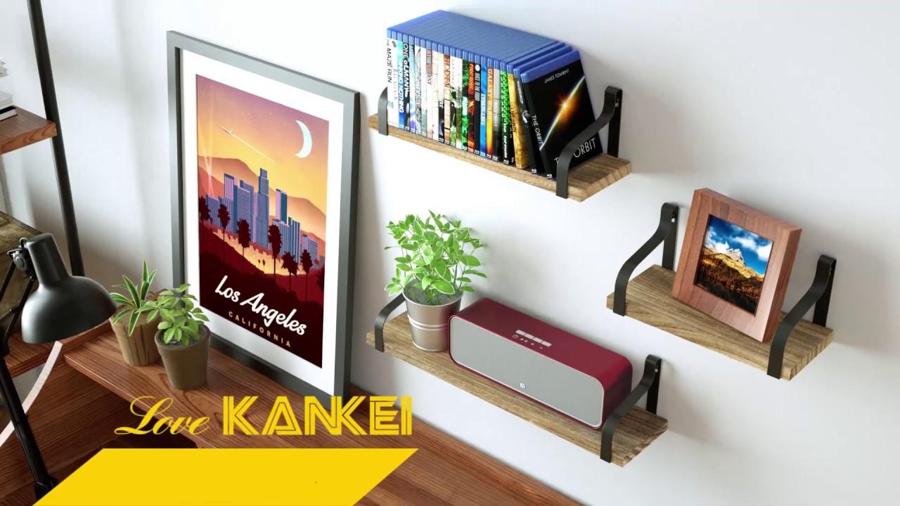 Rustic Wood Wall Shelves Set Of 3 Love-KANKEI Floating Shelves Wall Mounted
