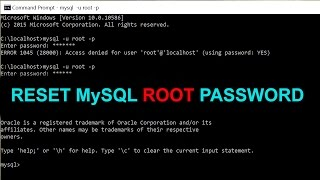 How to Reset MySQL Root Password on Windows