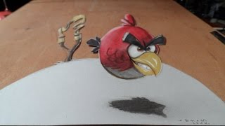 3D Red Bird - Drawing Angry Bird - How to Draw 3D Bird