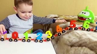 Вчимо цифри з паровозиком Вчимося рахувати з АМ НЯМОМ Розвиваючі іграшки для дітей Відео