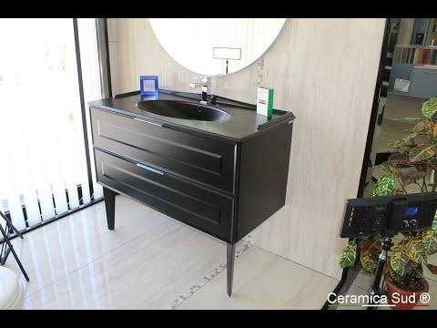 Mobile da bagno nero Berloni classico stile vintage lussuoso ingombro 110 cm. - BEST QUALITY