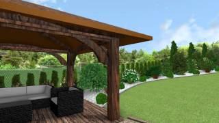 Projekt ogrodu w 3D - gabiony