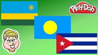 Play-Doh Flags! Rwanda, Palau, and Cuba!  EWMJ #236