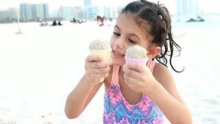 سوار وماسة عملوا ايسكريم بالرمل | sewar pretend play selling ice cream |had a Fun Day on the Beach!