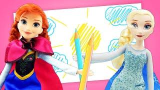 Vidéo en français pour enfants. Les princesses Elsa et Anna. La rentrée à l'école.