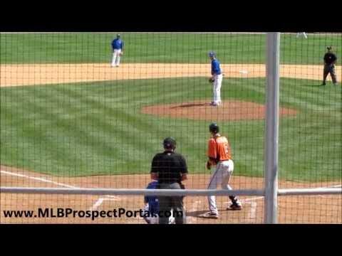 Blue Jays RHP Drew Hutchison vs  Orioles 3B Ryan Flaherty   spring training 2012