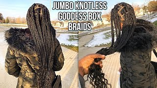 WAIST LENGTH JUMBO KNOTLESS GODDESS BOX BRAIDS ON THICK HAIR