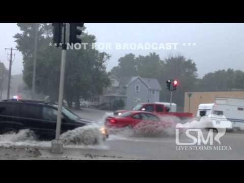 6/19/14 Emmetsburg, IA; Flash Flooding, Heavy Rain, Roads Flooding *Jason Cooley HD*