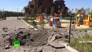 Church & playground shelled in Eastern Ukraine - aftermath footage