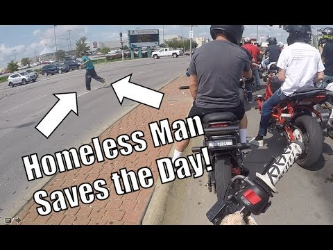 Grom Ventures Ep. 19 - Caring Homeless Man Helps Bikers after Donation!