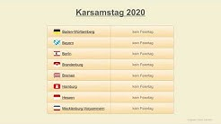 Karsamstag 2020 - Datum - Feiertage Deutschland 2020