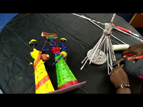 how to make newspaper african doll - craft work - doll making - diy crafts