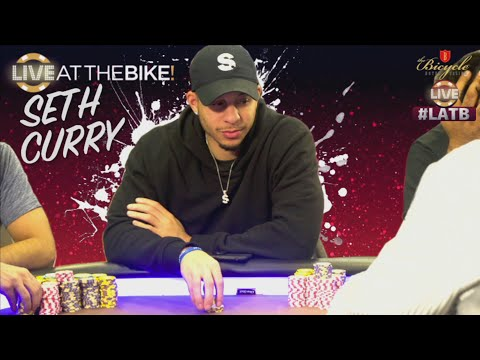 NBA star Seth Curry plays huge poker hand ♠ Live at the Bike!
