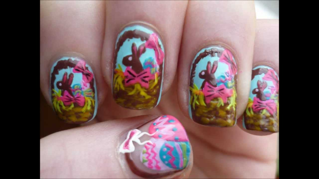Easter Egg Basket Nail Art Easter Tutorial - YouTube