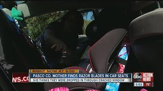 Razor blades dropped into children's car seats in Walmart parking lot