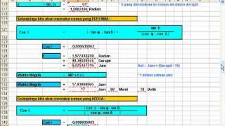 Ilmu Falak, Menghitung Waktu Shalat dengan Excel (Shalat Magrib Rumus 2)