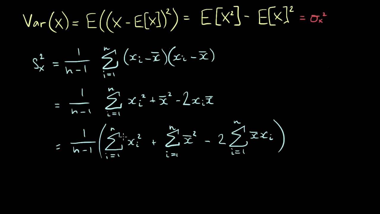 Quick Formula For Sample Variance Youtube