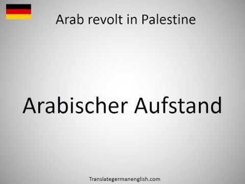 How to say Arab revolt in Palestine in German?