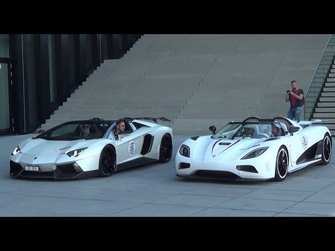 START UP BATTLE: Koenigsegg Agera R vs. Lamborghini Aventador ...