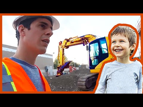 Axel Gets Dumped Out of an Excavator Bucket at a Construction Site