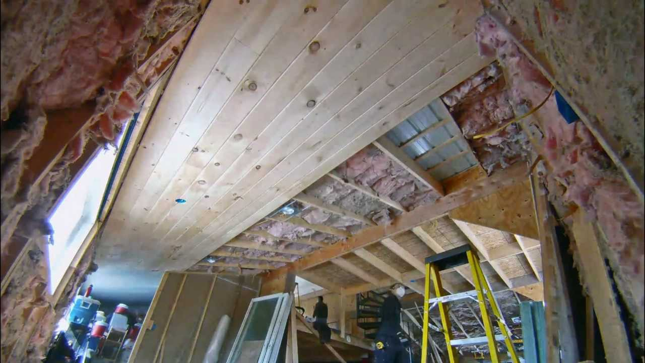 Installing 1x7 Tongue And Groove Pine On The Lower Ceiling