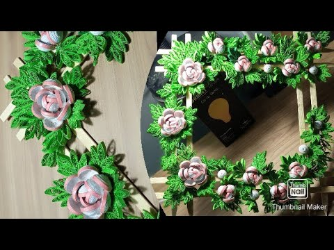 Quilling flower frame tutorial /step by step // easy to made this beautiful frame // best for gift.