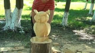 резьба бензопилой, резьба по дереву. садовая скульптура сова
