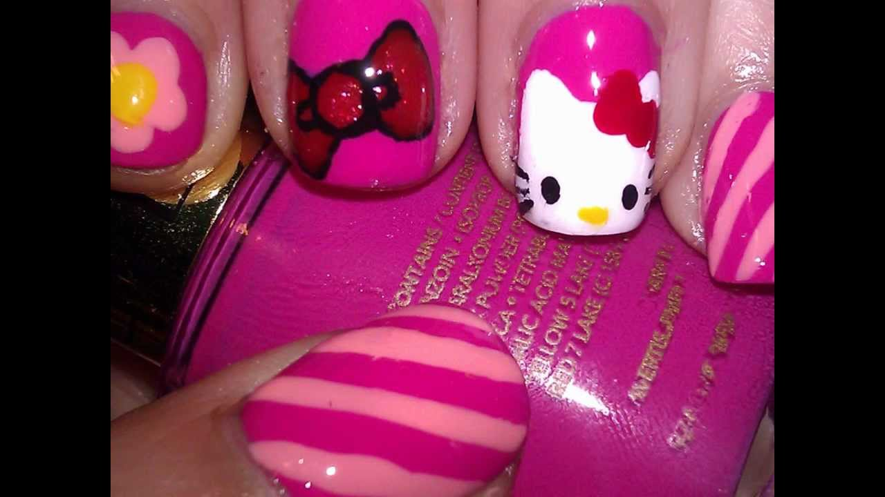 Nail art with hello kitty