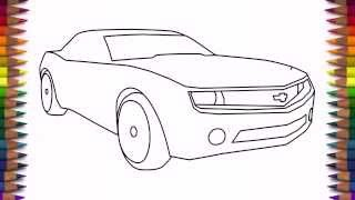 How to draw a car Chevrolet Camaro (Bumblebee) step by step easy drawing for kids