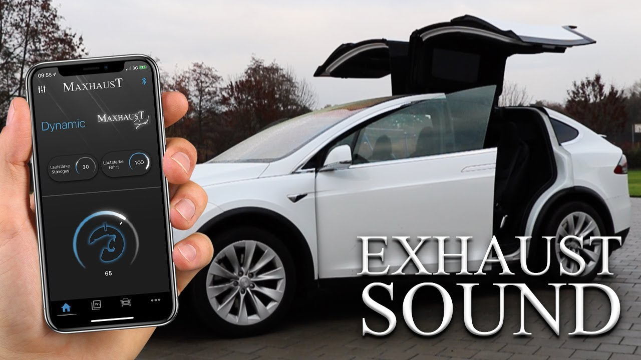 Tesla Model X With Maxhaust Sound V8 Engine Sound For Tesla Youtube