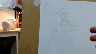 Как нарисовать гипсовую голову (обрубовку).