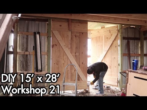 Building a 15'x28' (5mx9m) Workshop 21: DIY Barn / Plank Wooden Doors