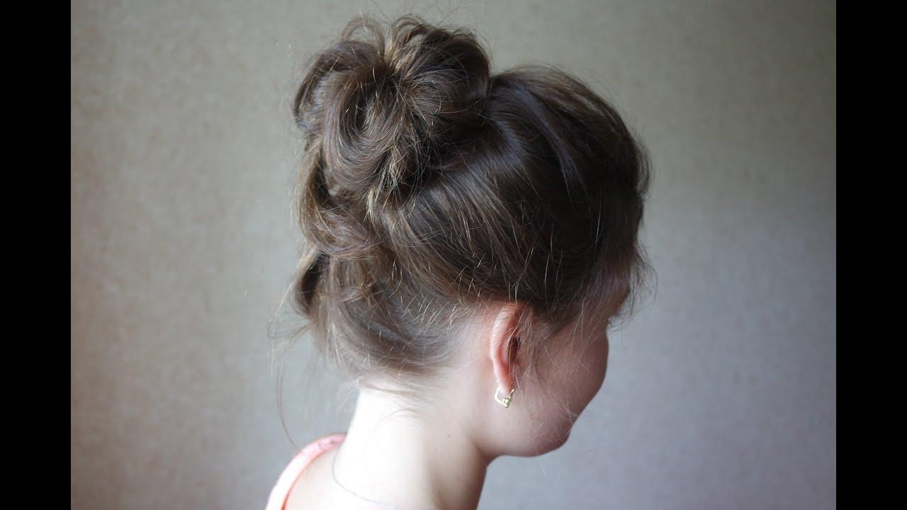 Объемный пучок на тонкие волосы