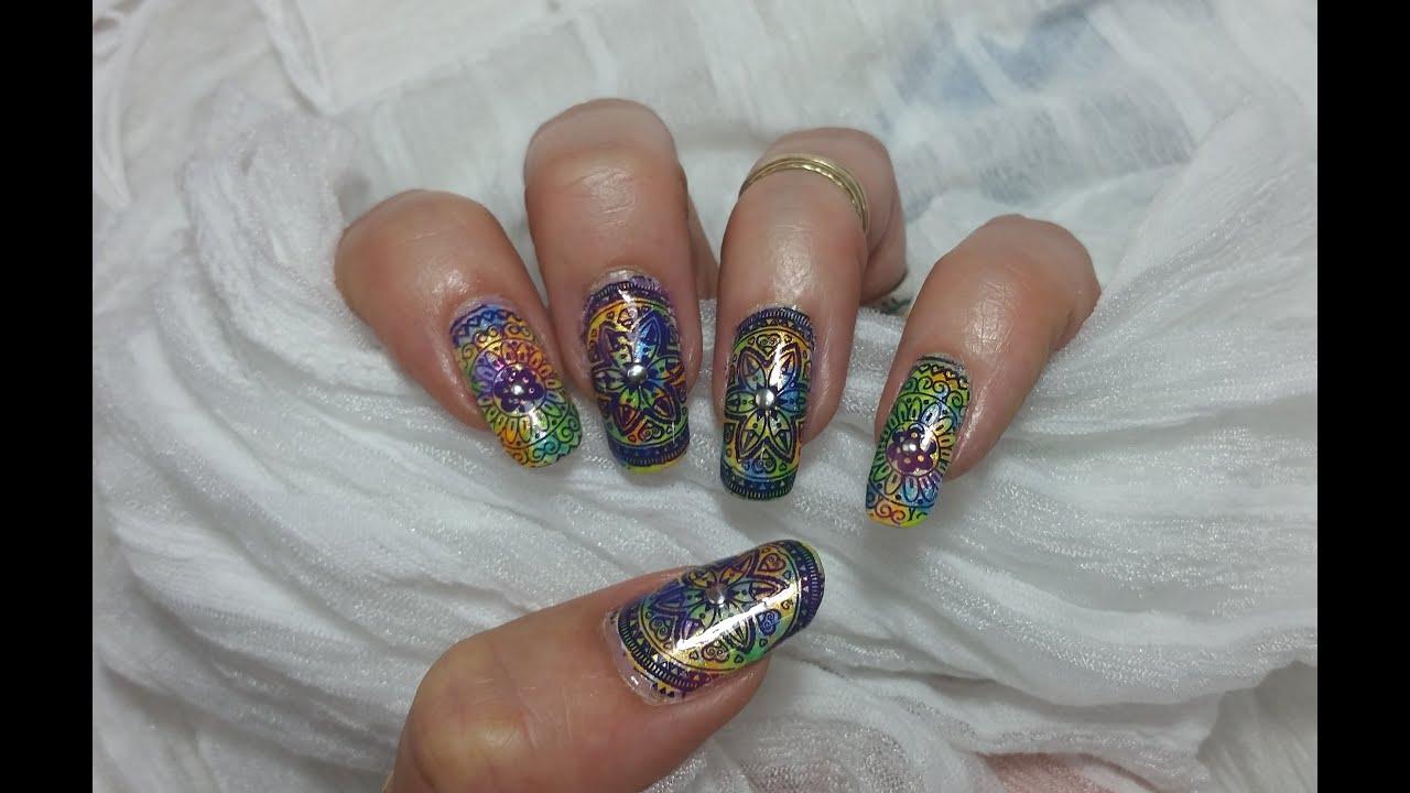 Stamped Nail Art MoYou Mandala  Lacey Purple & Blue ...