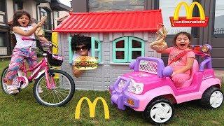 McDonald's drive thru prank kids on bicycle power wheel ride on car