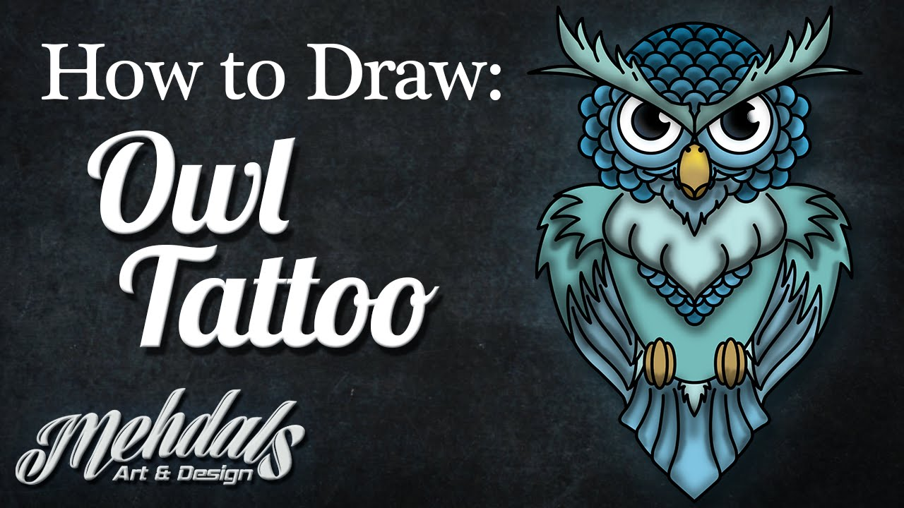 How To Draw An Owl Tattoo Youtube