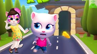 Talking Tom Gold Run vs My Talking Angela - Gameplay Great Makeover For Children HD