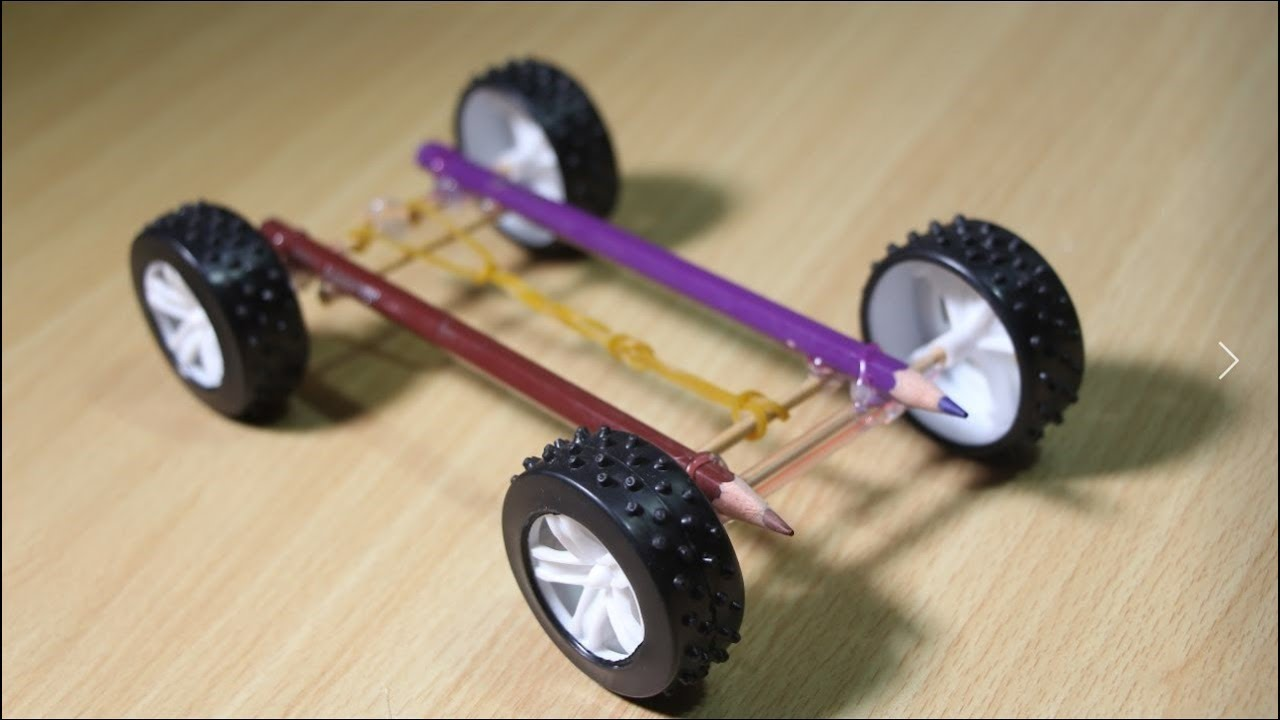 How to make a Rubber Band powered Car with pencil - YouTube