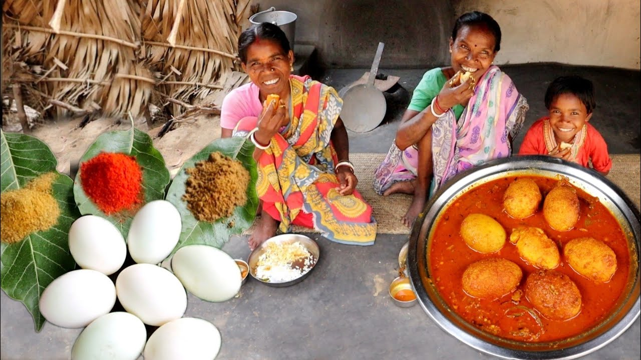 delicious DUCK EGG CURRY cooking and eating with hot rice by santali tribe family    rural village