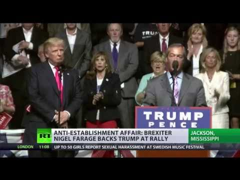 'I wouldn't vote for Clinton if you paid me': Nigel Farage at Trump rally