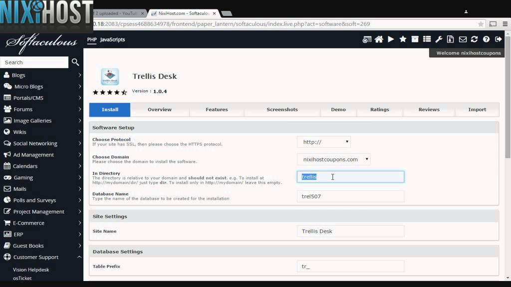 Installing Trellis Desk With Softaculous In Cpanel