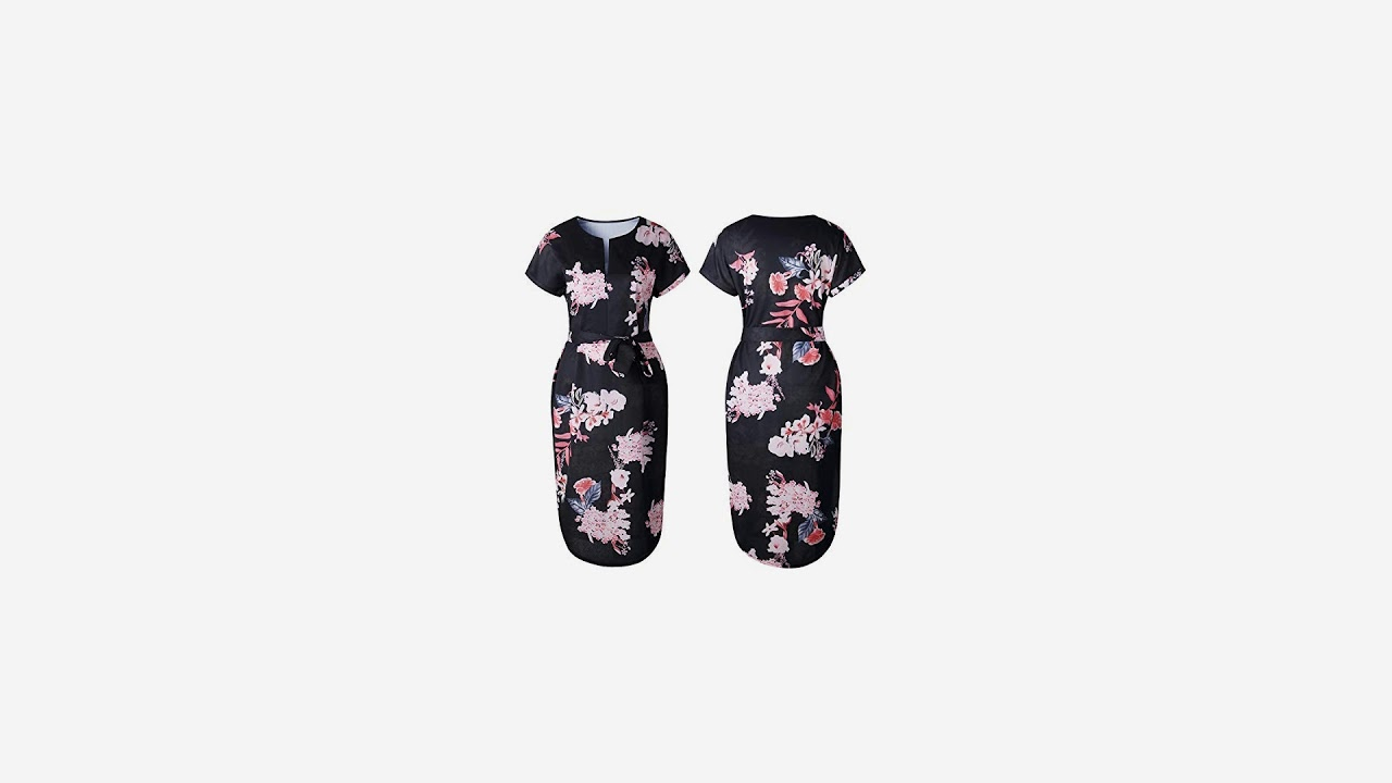 8071d3833e19 ECOWISH Womens Dresses Summer Casual V-Neck Floral Print Geometric Pattern  Belted.