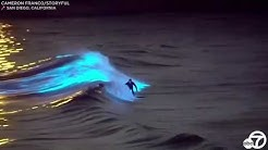 Bioluminescent waves: Surfers ride glowing waters off San Clemente, San Diego coasts | ABC7