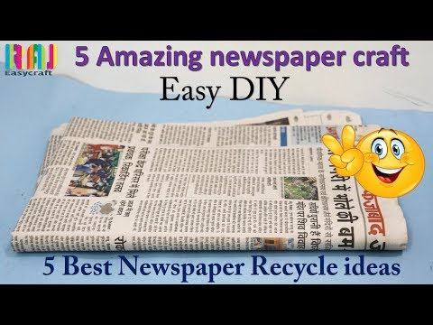 DIY Newspaper craft || best out of waste || 5  craft #  raj easy craft best