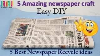 DIY Newspaper craft || best out of waste || 5  craft #  raj easy craft best