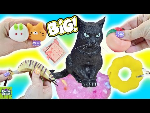 Cutting Open Squishy Big Black Cat Toy! Stretchy Shrimp Squishy Homemade Sparkle Slime Doctor Squish